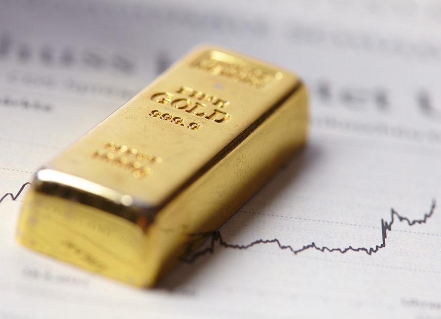 Gold slides down